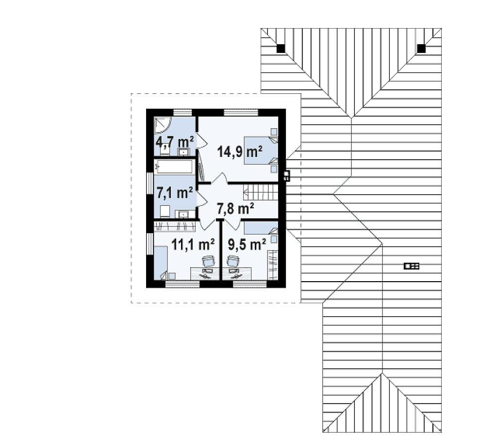 Второй этаж 54,0 м² дома Z335