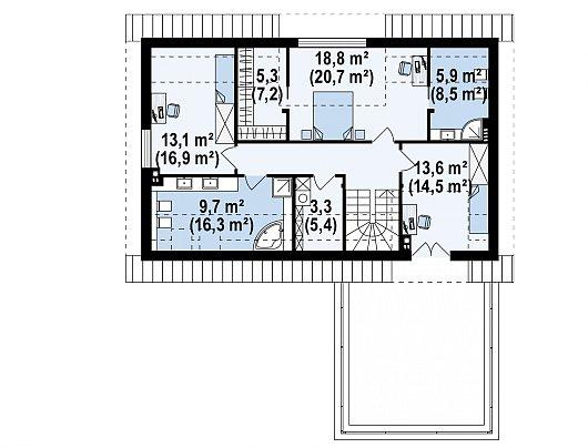 Второй этаж 77,7 / 97,7 м² дома Z358