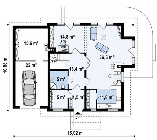 Первый этаж 91,1 / 128,6 м дома Z63 L GL
