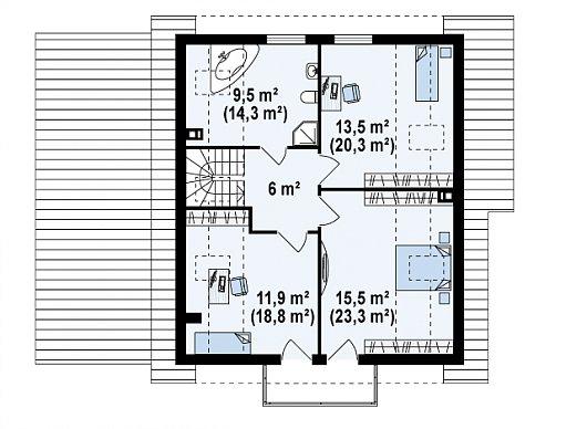 Второй этаж 56,5 / 82,9 м² дома Z63 L GL