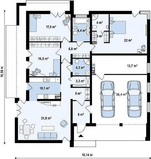 Первый этаж 140,6 / 190,6 м² дома Zx49 GP2