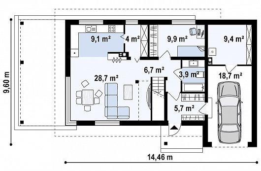 Первый этаж 68,0 / 96,1 м² дома Zx63 B + s