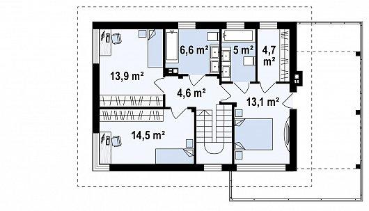 Второй этаж 62,4 м² дома Zx63 B + s