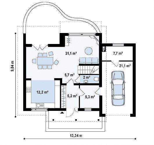 Первый этаж 89,4 м² дома Z146 GP