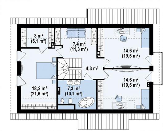 Второй этаж 66,5 / 92,8 м² дома Z162 Gl