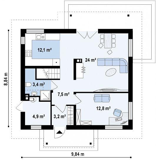 Первый этаж 67,9 м² дома Z162 v3