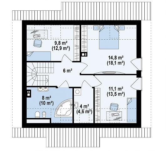Второй этаж 53,7 / 65,2 м² дома Z162 v3