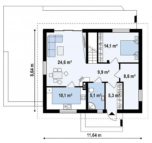 Первый этаж 77,2 м² дома Z255 B pc