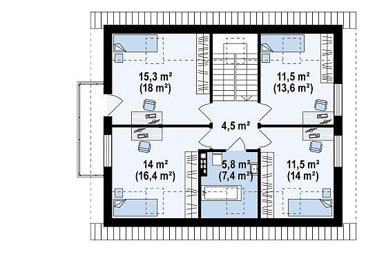 Второй этаж 61,7 / 72,5 м² дома Z255 B pc