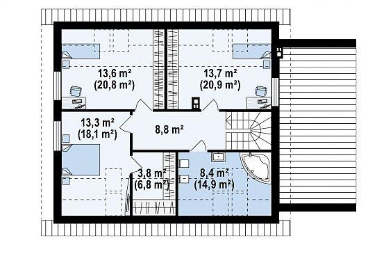 Второй этаж 60,8 / 89,3 м² дома Z266 A