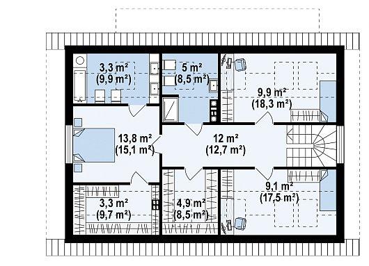 Второй этаж 61,4 / 98,6 м² дома Z343