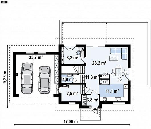 Первый этаж 106,7 м² дома Z345
