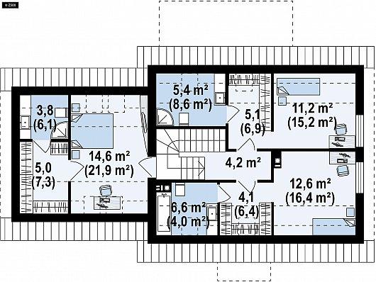 Второй этаж 68,9 / 98,4 м² дома Z345