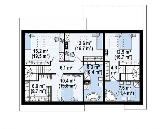 Второй этаж 83,3 / 107,5 м² дома Z346