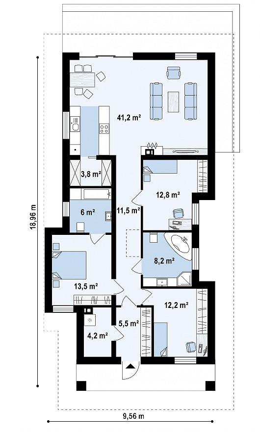 Первый этаж 115,9 м² дома Z363