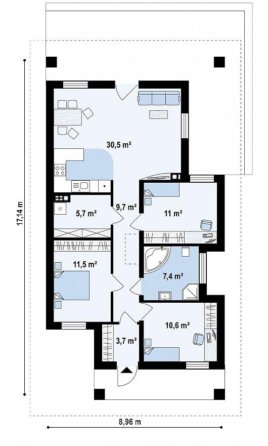 Первый этаж 88,3 м² дома Z366