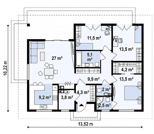 Первый этаж 105,7 м² дома Z368 D