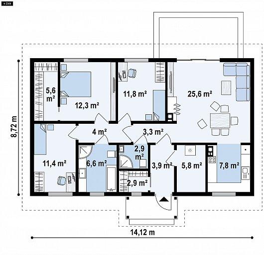 Первый этаж 102,9 м² дома Z369 D
