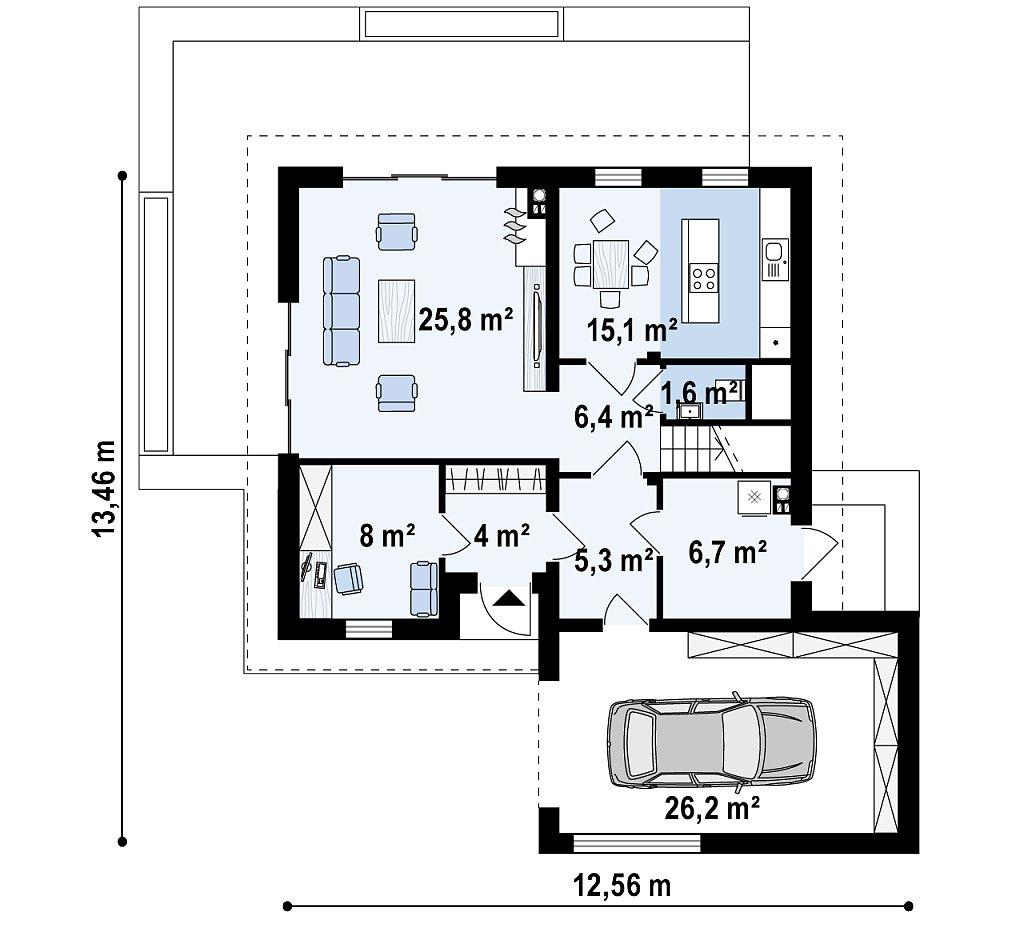 Первый этаж 98,1 м² дома Z371