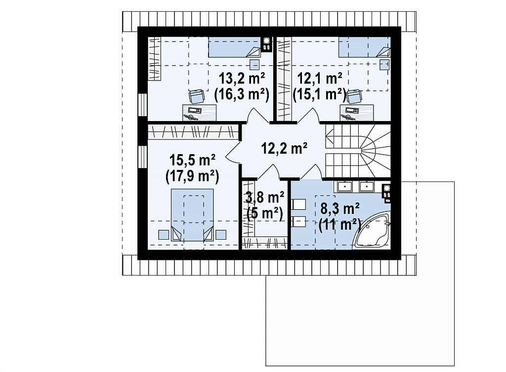 Второй этаж 64,1 / 76,4 м² дома Z371