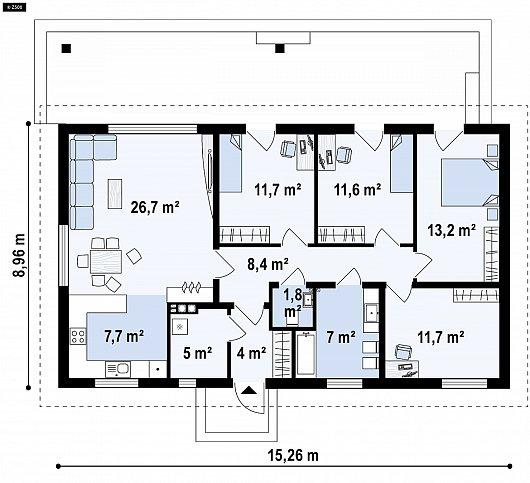 Первый этаж 107,7 м² дома Z376 35