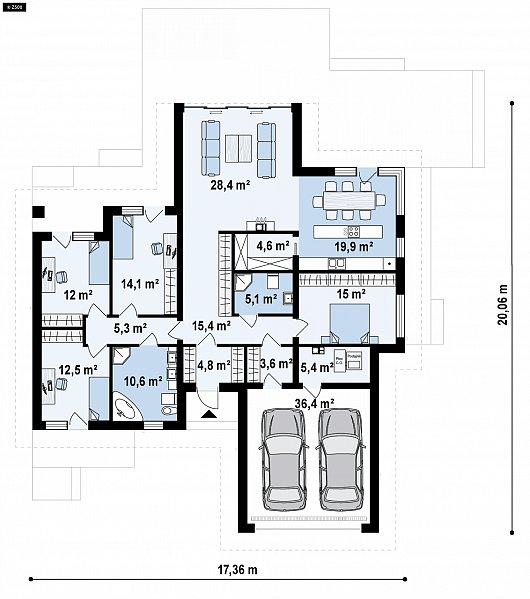Первый этаж 192,0 м² дома Z406