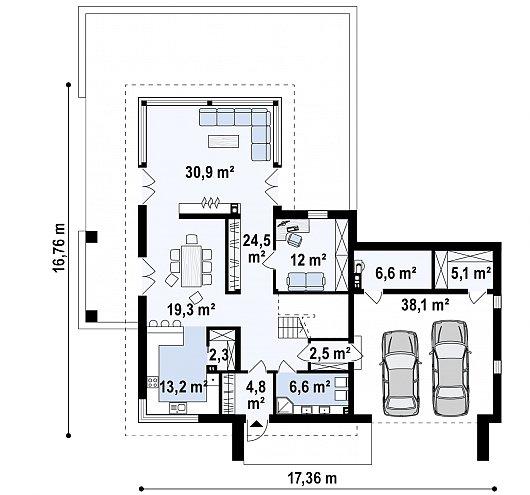 Первый этаж 165,5 м² дома Zx130