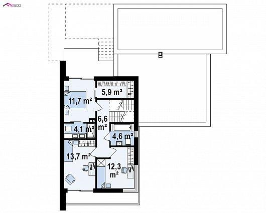 Второй этаж 57,2 м² дома Zx151