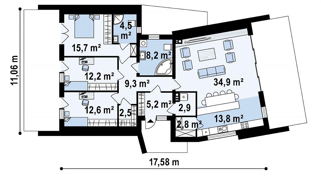 Первый этаж 123,5 м² дома zx180