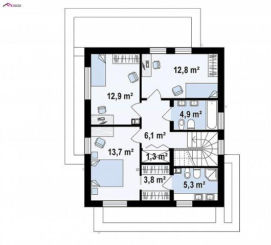 Второй этаж 59,7 м² дома Zx92