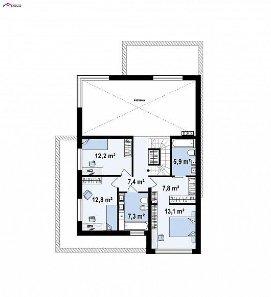 Второй этаж 43,9 / 60,4 м² дома Z146 GP