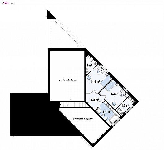 Второй этаж 51,7 / 54,1 м² дома Zx94