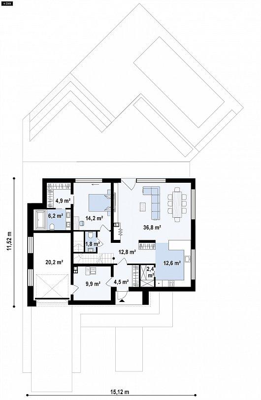 Первый этаж 124,9 м² дома zx95