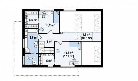 Второй этаж 62,3 / 66,6 м² дома zx95