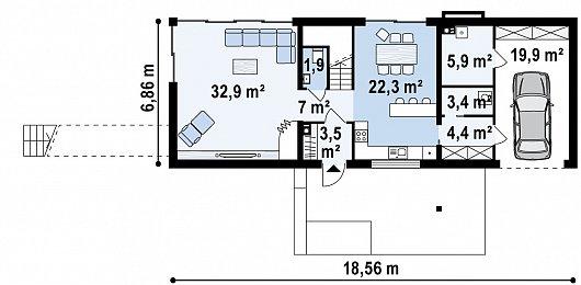 Первый этаж 99,8 м² дома Zx97