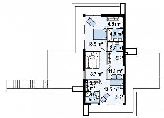 Второй этаж 68,0 м² дома Zx97