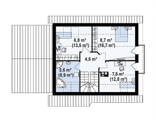 Второй этаж 34,5 / 57,8 м² дома Z101 GL