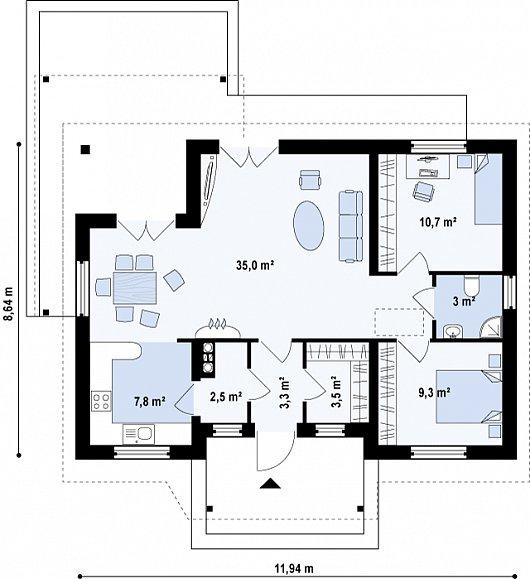 Первый этаж 74,3 м² дома z136 minus