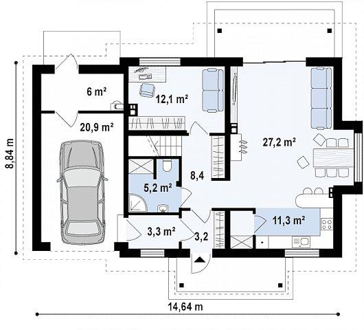 Первый этаж 70,6 / 97,5 м² дома Z162 GLv2