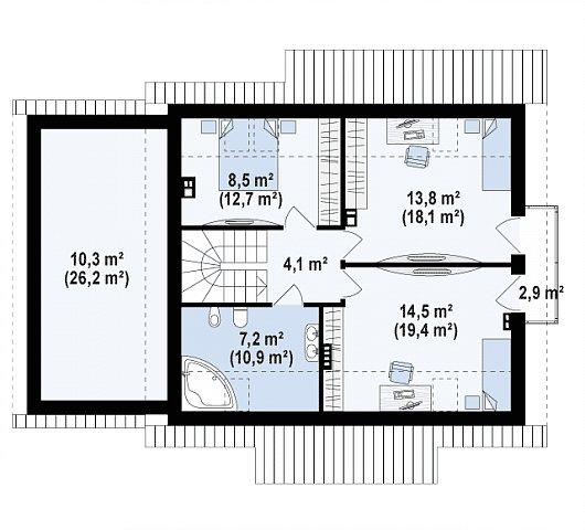 Второй этаж 46,0 / 91,3 м² дома Z162 GLv2