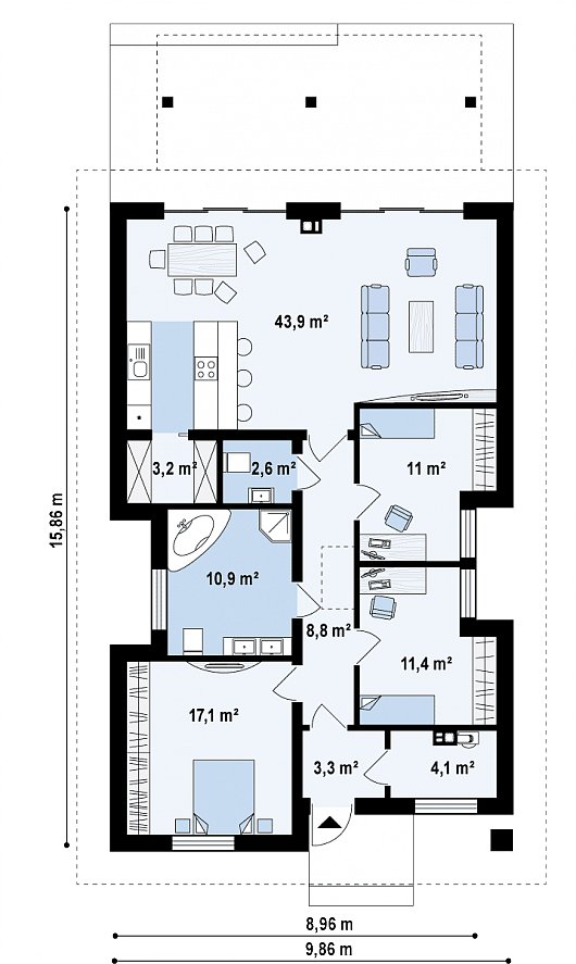 Первый этаж 115,5 м² дома z328