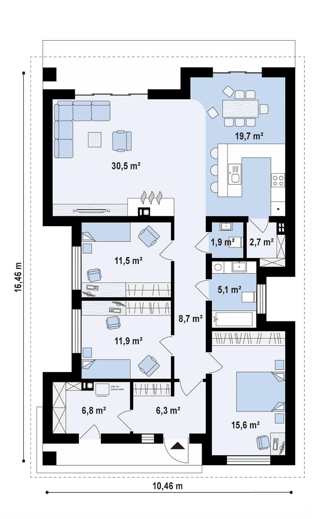 Первый этаж 119,5 м² дома Z348