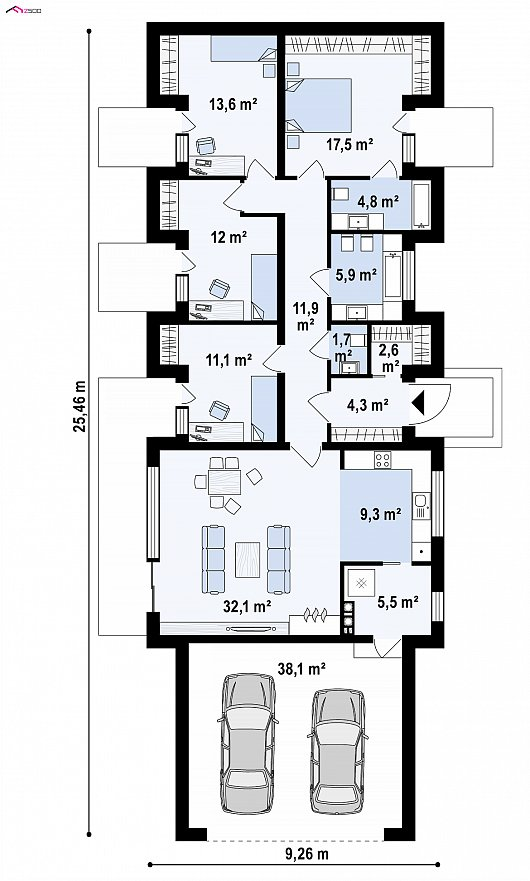 Первый этаж 132,3 / 170,4 м² дома Z395