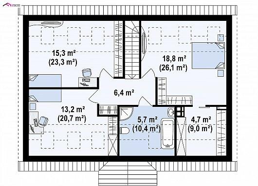Второй этаж 63,1 / 94,9 м² дома Z8 B 40