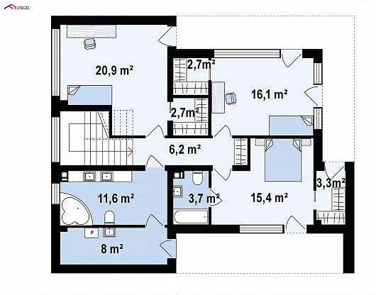 Второй этаж 89,6 м² дома Zx82