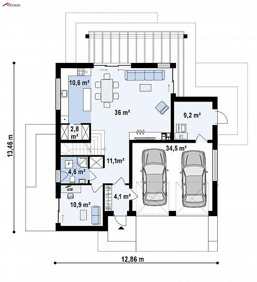 Первый этаж 89,3 / 123,8 м² дома zx91