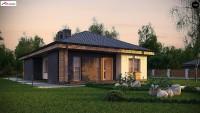 Проект дома с мансардой и верандой 6х8 Z348
