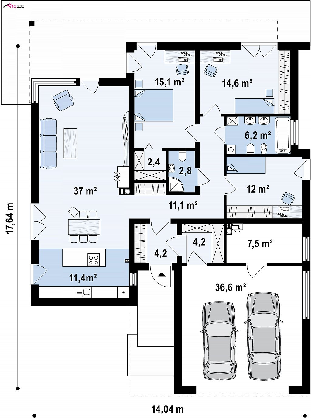 Первый этаж 128,4 / 165,0 м² дома Z271