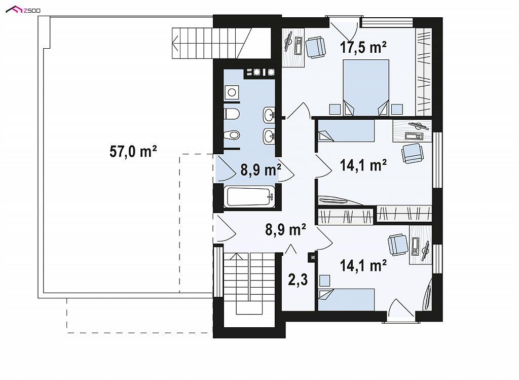Второй этаж 64,8 м² дома Z319