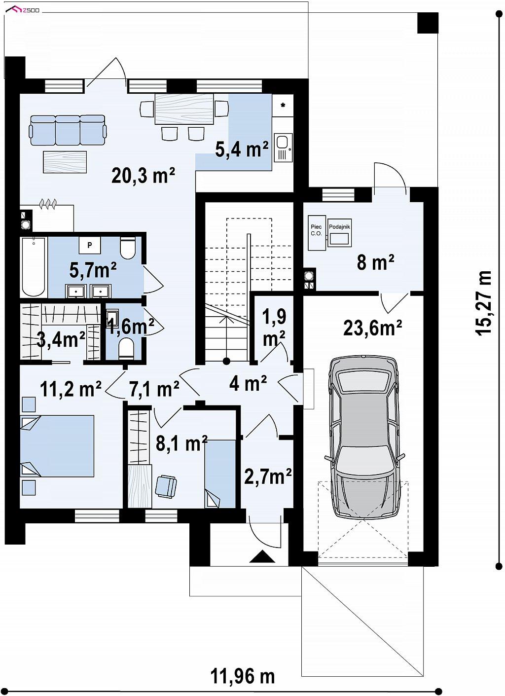 Первый этаж 79,3 / 102,9 м² дома Z424
